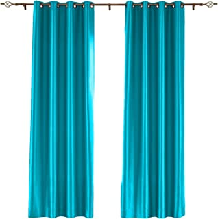 Drapifytex Blackout Curtains Grommet Top Room Darkening Turquoise Faux Silk Satin Thermal Insulted Curtains for Living Room 52X63 Inch,1 Panel