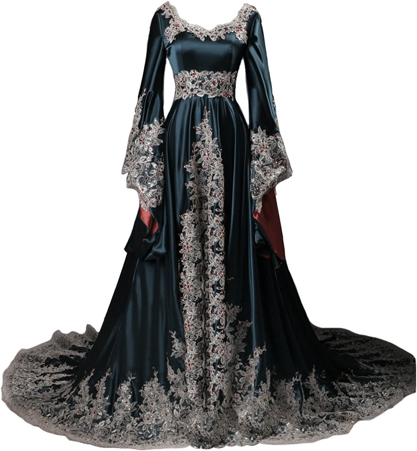 Lemai Vintage Long Sleeves Formal Evening Gowns A Line Women Gothic Dresses