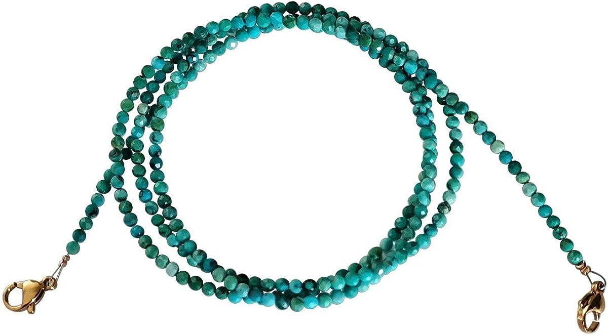Qordelia Genuine Natural Gem Beads Glasses Chain Necklace Bracelet Strap Eyeglass Chains for Kids Women Men