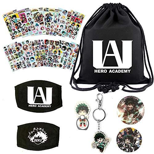 KKSJK Set de regalo My Hero Academia – 1 bolsa con cordón, 12 hojas adhesivas, 2 chapas, 1 anillo para el móvil y 1 llavero.