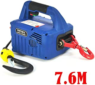 Electric Hoist Winch, 500KGX7.6M Portable Household Electric Hoist Winch with Wireless Remote 5M/min 110V 1500W (US Stock) (7.6M)