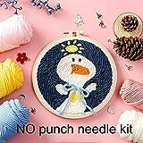 Cartoon Duck Punch Needle Kit de bordado con aro DIY Punch Needle Set de punto de cruz para principiantes Handmade Craft Home Decor, NO kit de aguja de punzonado