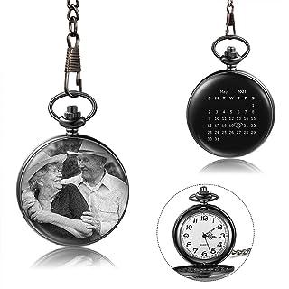 ساعت جیبی شخصی ساعت مچی جیبی با زنجیر برای مردان زنان هدیه تولد شخصی دامادان هدیه عروسی هدیه کریسمس