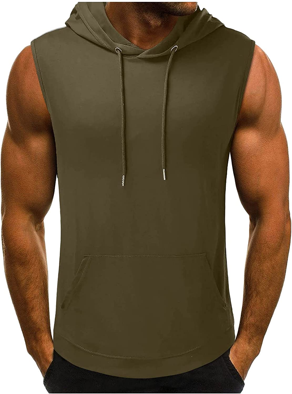 Beshion Men's Workout Hooded Tank Tops Sleeveless Gym Hoodies Bodybuilding Muscle Shirts Hip Hop Sports Shirts with Pockets