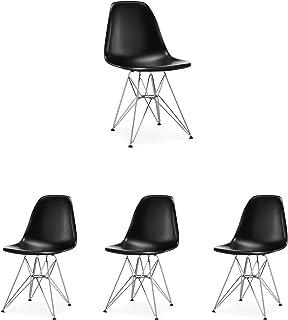 N/A Juego de 4 sillas de Comedor Silla cómoda de Estilo escandinavo en Acero Fundido para el Comedor la Sala de Estar y la Cocina (Negro)