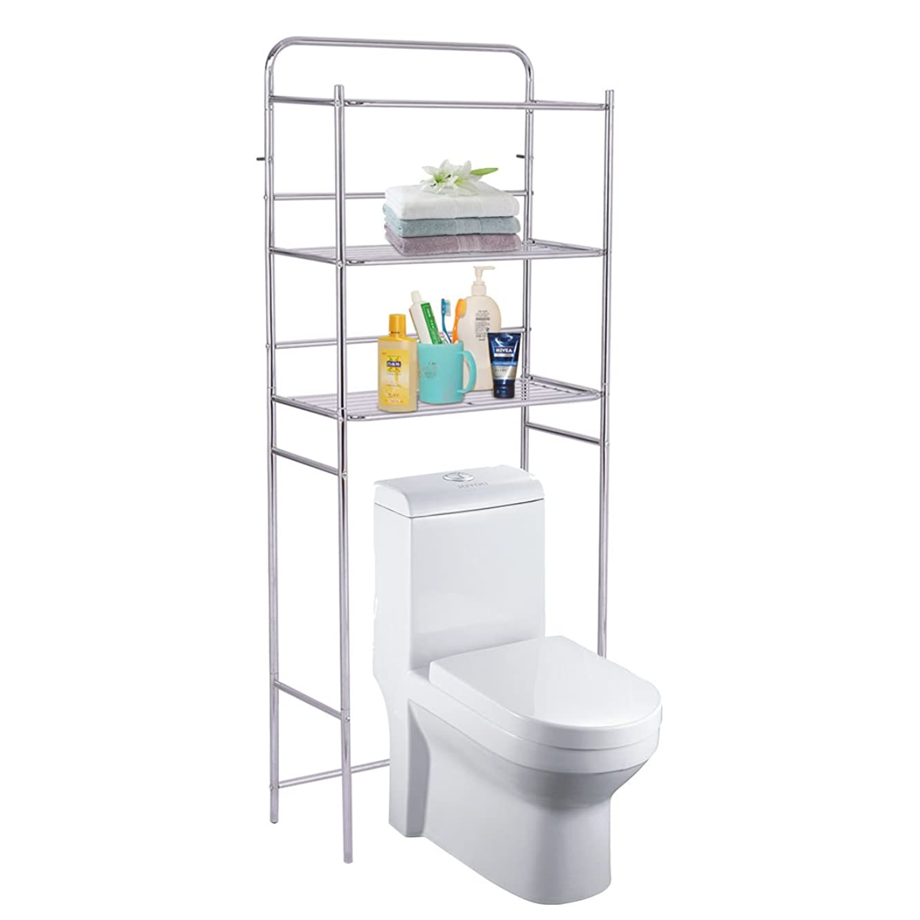 MoonNewyork The Toilet Space Saver Bathroom Storage 3-Tier Over Shelf Rack Organizer Chrome