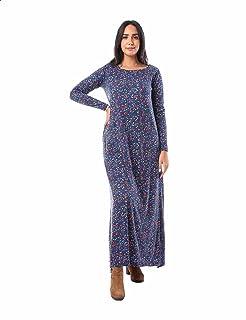 فستان ماكسي قطن باكمام طويلة ونقشة ورود بفتحات جانبية للنساء من جميلة