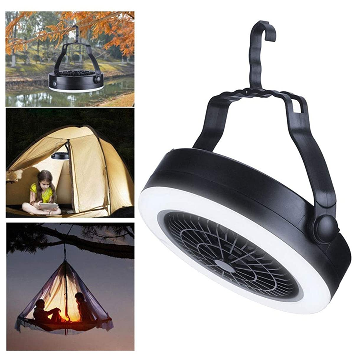 856store Fans Cooling Portable Fan Light USB Rechargeable Outdoor Camping Hanging Tent Lamp Lantern