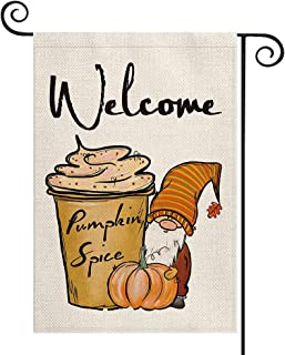 AVOIN colorlife Welcome Fall Pumpkin Garden Flag Vertical Double Sided, Spice Gnome Mini Flag, Autumn Seasonal Harvest Tha...