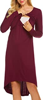 Womens Long/Sleeveless Delivery/Labor/Maternity/Nursing Nightgown Pregnancy Gown for Hospital Breastfeeding Dress
