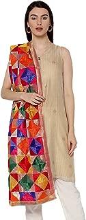 Weavers Villa Women's Indian Handicraft Ethnic Dupatta Heavy Phulkari Embroidery Dupatta Chunni/Stole/Scarf