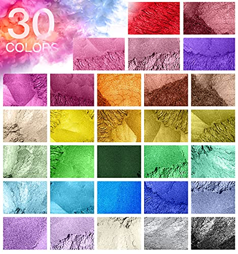 Mica Powder, 30 Pack Resin Color Pigment, Mica Powder for Epoxy Resin/Soap Making/Lip Gloss/Candle Making/Body Butter/Slime, Soap Colorant Dye Coloring Shimmer Powder Resin Pigment Powder Set (5g/bag)