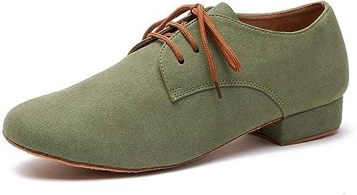 Fuxitoggo Souliers de Danse pour Hommes de la Mode en Daim Latin Medorn (Couleuré   Light vert-2.5cm Heel, Taille   6.5 UK)