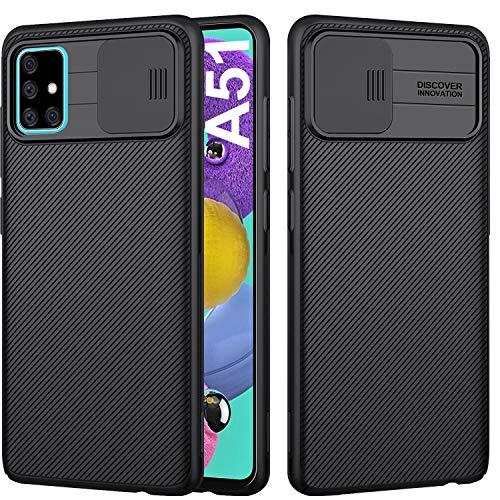 AROYI Funda Samsung Galaxy A51, [Protección de la cámara] con Tapa Deslizante para la cámara, Estuche Protector Delgado y Silicona PC Case [Anti-Rasguño] para Samsung Galaxy A51 - Negro