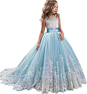 Girls Wedding Dress Princess Pageant Embroidery Ball Gown Dresses