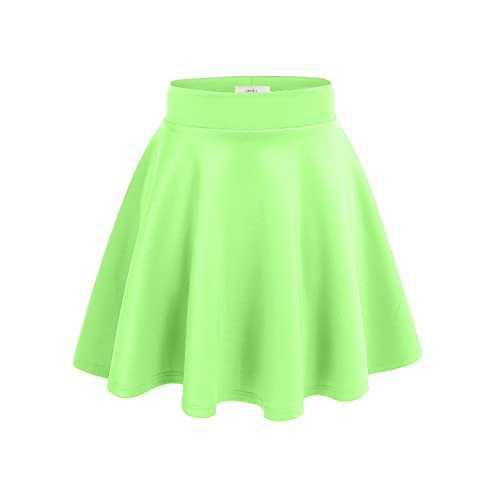 b50951c905 Simlu Womens Plus Size Skater Skirt Flare a Line Skirt Made in Usa Neon Lime  2X
