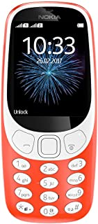 "Nokia 3310 3G - Unlocked Single SIM Feature Phone (AT&T/T-Mobile/MetroPCS/Cricket/Mint) - 2.4"" Screen - Warm Red - U.S. Warranty"