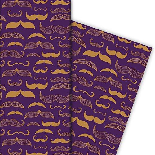 Kartenkaufrausch Heren cadeaupapier set 4 vellen, decoratief papier met verschillende moustaches | snor baarden, paars, voor mooie geschenkverpakking, patroonpapier om te knutselen 32 x 48 cm