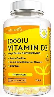 Vitamina D3 1000 UI - 365 Cápsulas de Gel de Colecalciferol (Suministro Para Un Año) - Vitamina...
