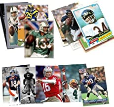 40 Football Hall-of-Fame and Superstar Cards Collection Including Players such as Jim Thorpe , Jerry Rice , Joe Montana , Barry Sanders, Emmitt Smith , John Elway, Peyton Manning , Tom Brady, Dan Marino, Thurman Thomas , and Jim Kelly. Ships in Protective Plastic Case Perfect for Gift Giving. Every Package is guaranteed 1 Joe Montana Card !