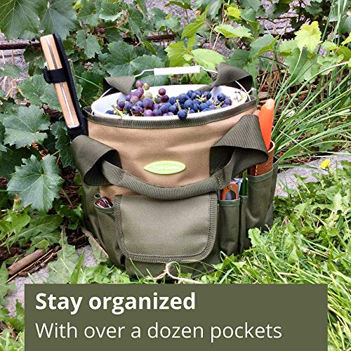 Garden Tool Bag and Gardening Tool Set – Make Gardening Easy – Carry All Your Garden Tools and Suppliers – Perfect Garden Tote and Bucket Organizer for Passionate Gardeners