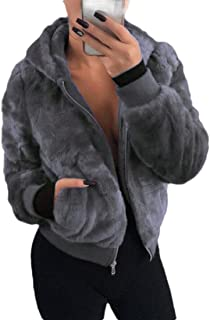 Women's Zip Basic Hooded Fluffy Coat Overcoat Warm Jackets