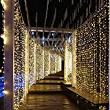 306 LED Window Curtain String Light Wedding Party Home Garden Bedroom Outdoor Indoor Wall Decorations (Warm White)