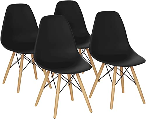 lowest Giantex DSW Chairs, Pre Assembled Mid Century Modern 2021 Dining Chairs, with Wood Legs, Armless outlet online sale Kitchen Chairs, Shell Lounge Plastic Side Chair Kitchen, Dining Room, Living Room, Set of 4, Black online