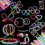 Herefun Set de 100 Barras Luminosas para Fiestas 20 cm - 8 Colores - Pulseras Luminosas,...