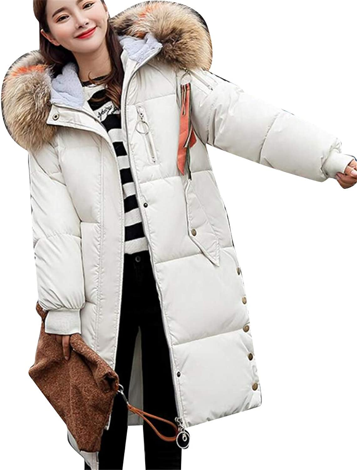 MOUTEN Womens Faux Fur Collar Winter Loose Fit Long Hoodie Down Quilted Jacket Coat