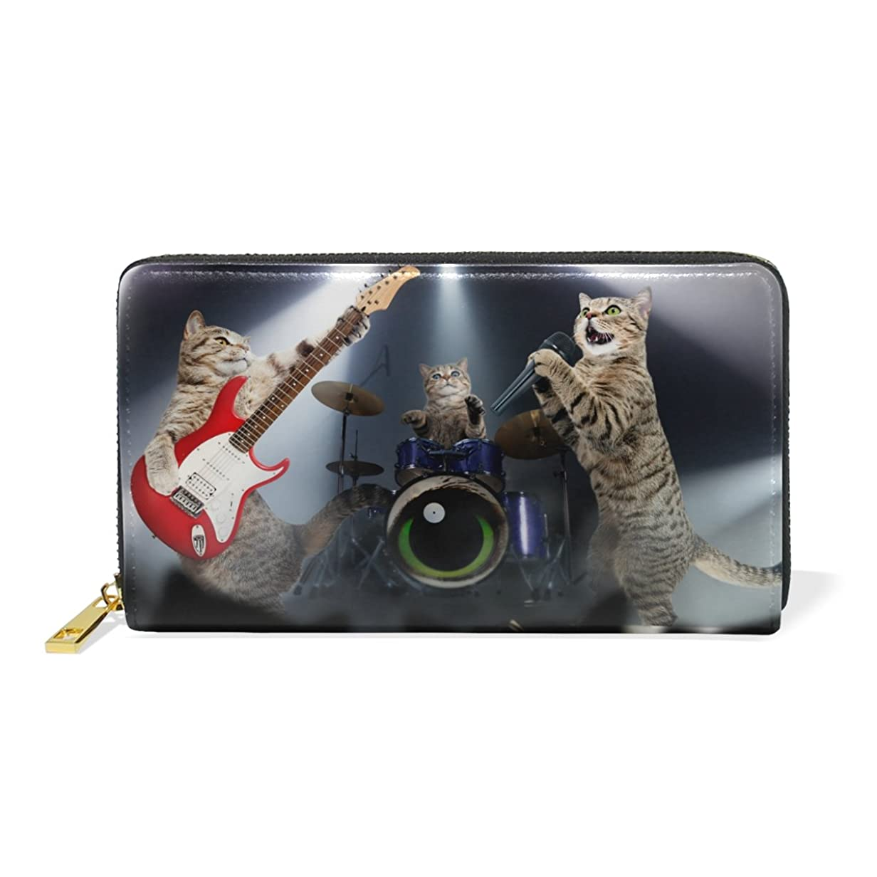 新聞余暇無心AOMOKI 長財布 ラウンドファスナー 財布 本革 大容量 通学 通勤 旅行 猫 コンサート