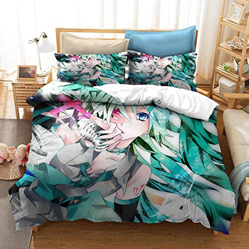 Snoevpar Bedding Duvets Sets Cartoon Anime Character 200 * 200Cm Bedding Bed Set 3 Piece Ultra Soft Thick Hypoallergenic Modern Quilt Cover + 2 Pillow Cases 50 * 75Cm
