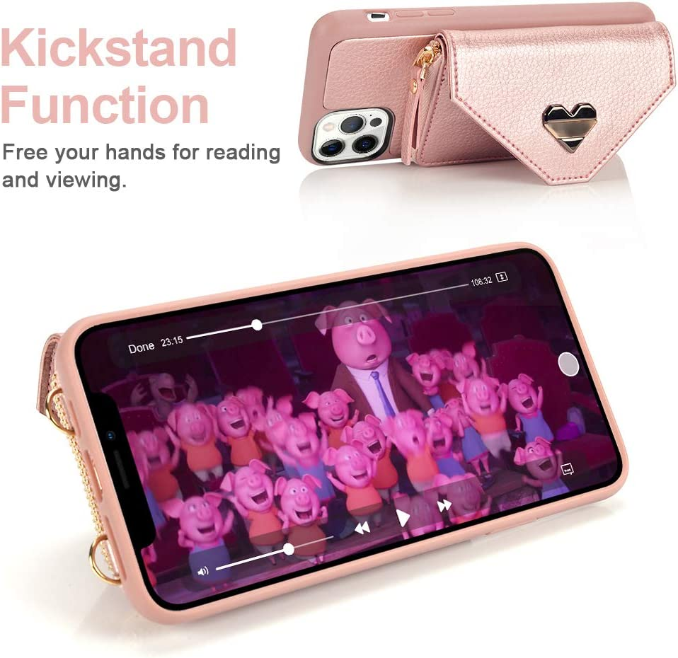 Rose Gold Wallet Case for iPhone 12 Pro Max JLFCH iPhone 12 Pro Max Crossbody Case with Zipper Credit Card Holder Wrist Strap Lanyard Purse Compatible with iPhone 12 Pro Max 6.7 inch 2020