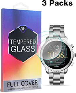 [3 Pack] Fnova for Fossil Q Explorist Gen 3 Screen Protector Tempered Glass, 2.5D Arc Edge, 9H Anti Scratch, Bubble Free, Lifetime Replacement Warranty