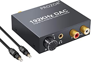 PROZOR Digital to Analog Converter 192kHz DAC Supports Volume Control Digital Coaxial SPDIF Toslink to Analog Stereo L/R R...