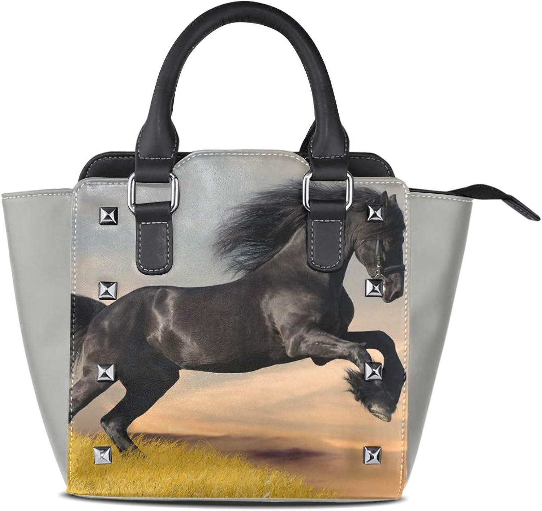 Women's Handbags Black Friesian Horse Gallop Tote