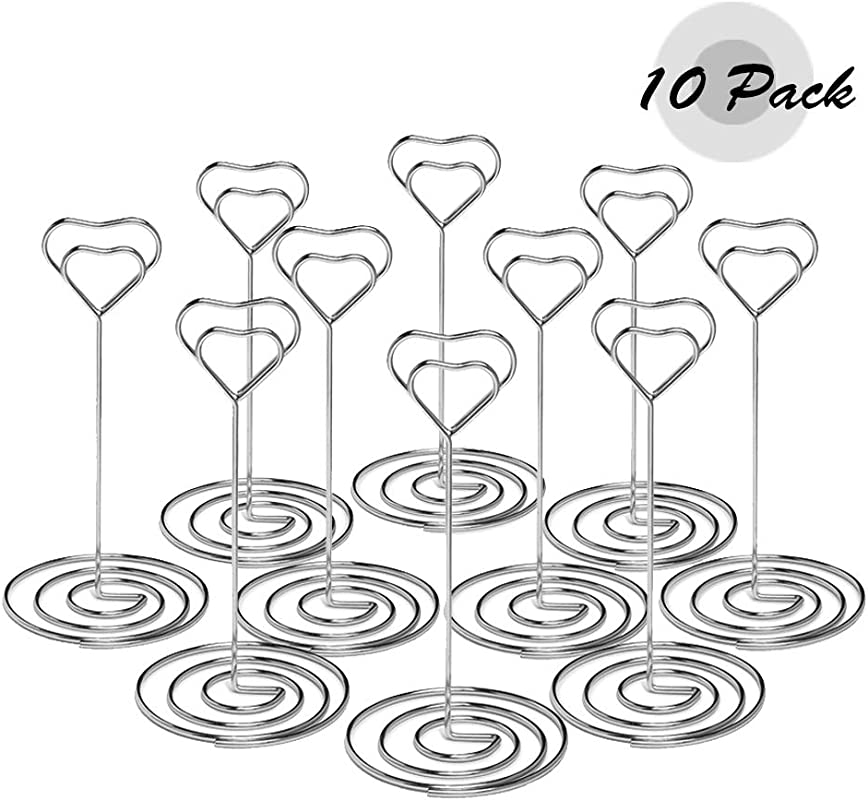 Atopxing 10pcs 4 7 Place Card Holders Sturdy Table Number Holder Classy Table Photo Picture Stands Elegant Menu Note Clips Idea For Wedding Birthday Bridal Shower Graduation Party Silver