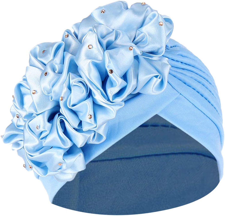 Maryia Women's Skull Turban Headwear Muslim Ruffle Cancer Chemo Hat Beanie Wrap Cap