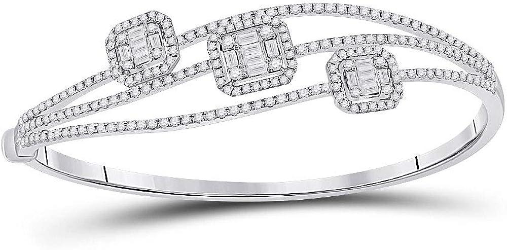 14kt White Gold Womens Baguette Bracelet Cluster San Antonio Max 73% OFF Mall 3-stone Diamond
