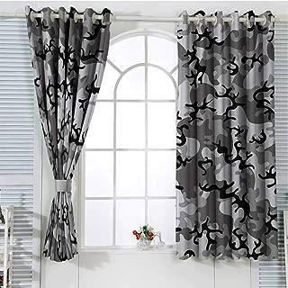 Jinguizi Camo Curtains for Bedroom Grommet Window Curtain Camouflage Concept Concealment Artifice Hiding Force Uniform Pattern Fashion Curtain Panels Black Grey Silver 63 x 63 inch