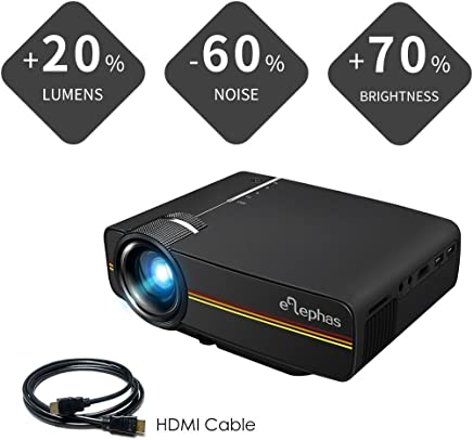 Elephas 1800 Lumens LED Movie Projector, Support 1080P 150'' Portable Mini Projector Ideal for Home Theater Cinema Video Entertainment Games Party (Black) …