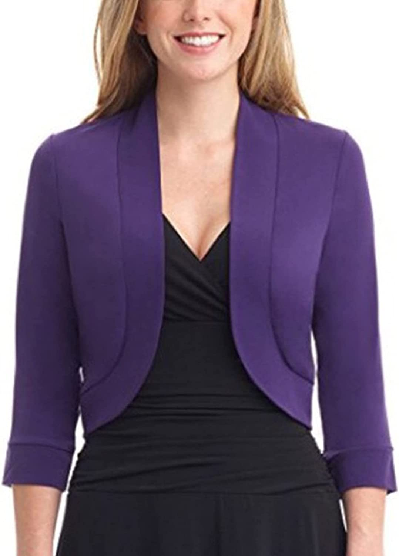 Women Open Front Short Shrugs 3/4 Sleeve Cropped Cardigans Shrugs Shawl Crop Top Bolero Shrugs for Spring Fall (Purple, Medium)