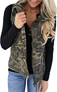 Women's Military Safari Vest Utility Lightweight Sleeveless Hooded Drawstring Jackets with Pocket
