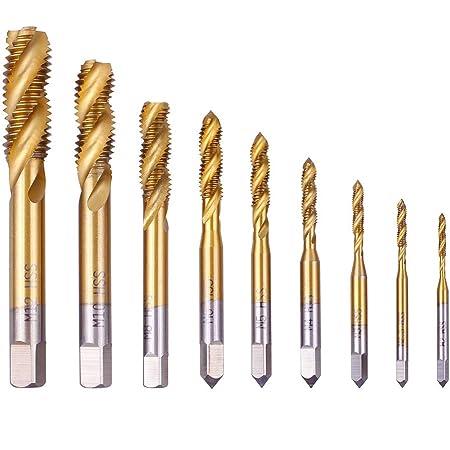 uxcell Metric Spiral Point Machine Screw Tap M3 Thread H2 Cobalt Titanium Plating M35 HSS