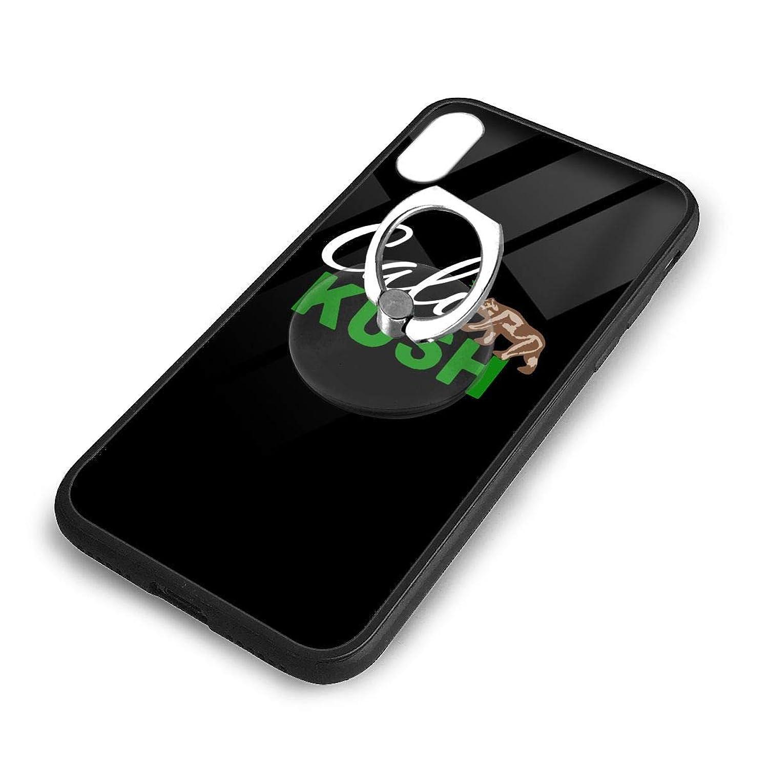 Cali Kush Weed California Republic iPhone X/XS Case Cute TPU Glass Phone Case Dustproof Phone Case with Universal Phone Ring Bracket Set