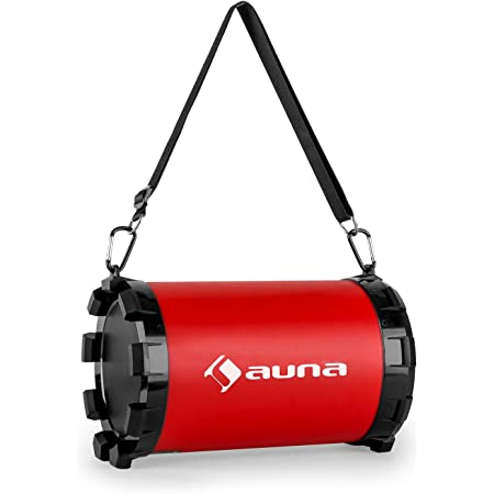 Auna Dr Red Boom 2 1 Lautsprecher Bluetooth Box Ukw Tuner Mp3 Fähiger Usb Port Sd Slot Aux Bass Regler Akku Usb Ladekabel Rot Audio Hifi