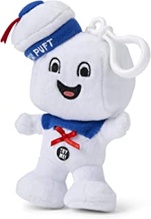 Ghostbusters Stay Puft Marshmallow Man Happy-Face 4-Inch Talking Plush - Collectible Clip-On Mini Stuffed Soft Toy - Plays Ghostbusters' Theme Song - Attach Figure to Backpack, Bookbag Or Purse