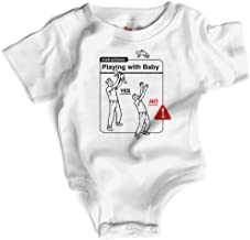 Wrybaby Funny Baby Bodysuit   Playing w/Baby Instructions   White, 0-6M