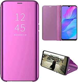Huawei Y8P Case, EabHulie Mirror Plating Hard PC +PU Leather Semi-transparent Standing View Case Cover for Huawei Y8P Purple