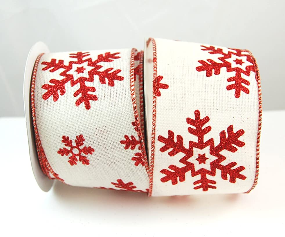 Reliant Ribbon 92764W-036-40F Hopsack Snowflake Glitter Wired Edge Ribbon, 2-1/2 Inch X 10 Yards, White/red